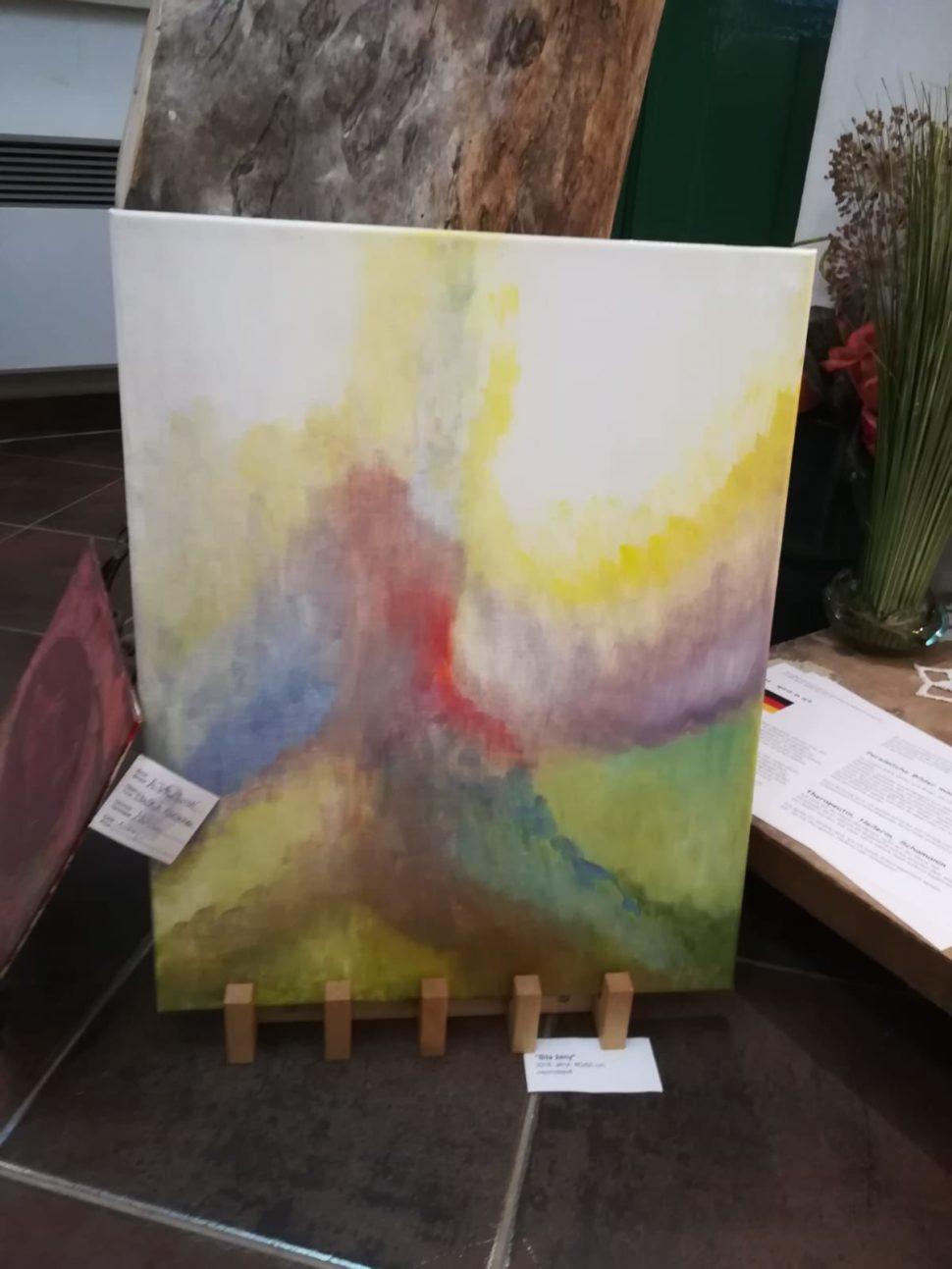 Abstraktní obraz Síla ženy - láska zcyklu Život naZemi - detail, Galerie Supice, Tábor